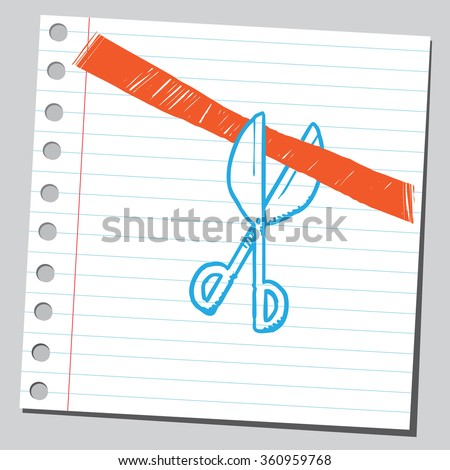 Scissors cutting red ribbon - stock vector