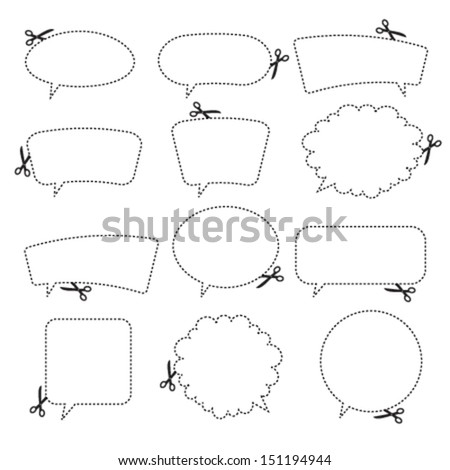 Scissors cutting speech bubbles. Vector illustration. - stock vector