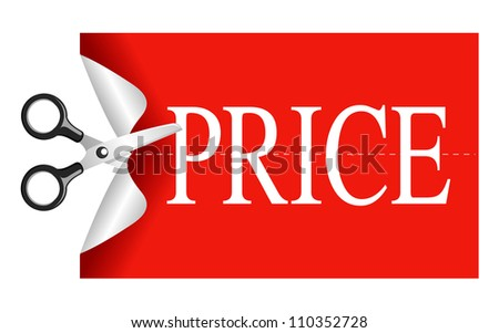 Scissors cutting sticker price - stock vector