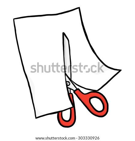 Scissors Cutting White Paper Cartoon Vector Stock Vector ...