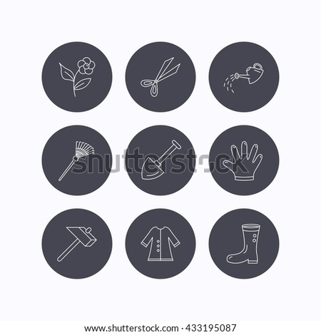 Scissors, hammer and gloves icons. Shovel, watering can and rake linear signs. Cloak, boots and flower flat line icons. Flat icons in circle buttons on white background. Vector
