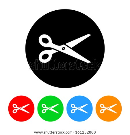 Scissors Icon with Color Variations - stock vector