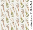 scissors seamless pattern - stock vector
