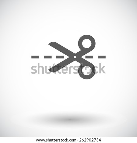 Scissors. Single flat icon on white background. Vector illustration. - stock vector