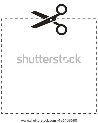 Scissors square cut line - stock vector