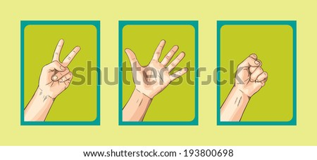Scissors VS Paper VS  Rock on Green Tone  - stock vector