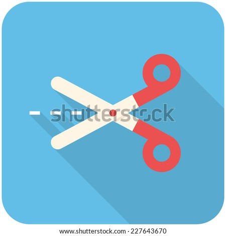 Scissors with cut lines - icon (flat design with long shadows) - stock vector