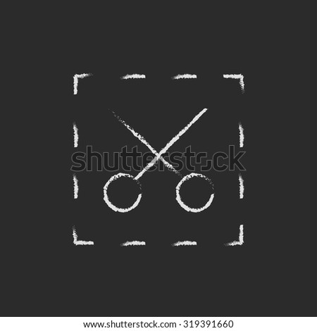 Scissors with dotted lines hand drawn in chalk on a blackboard vector white icon isolated on a black background. - stock vector