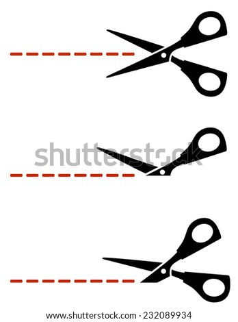 scissors with red cut lines on white background - stock vector