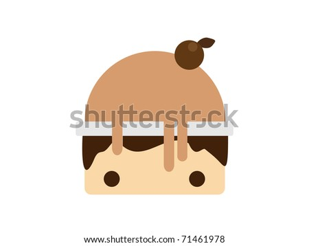 Scoop chocolate ice cream in bowl. Vector illustration - stock vector