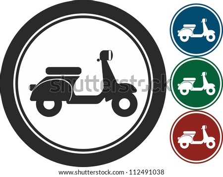 Scooter, bike ,vector, icon - stock vector