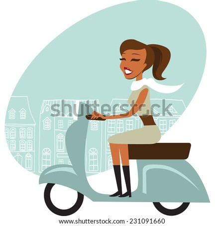 Scooter girl - stock vector