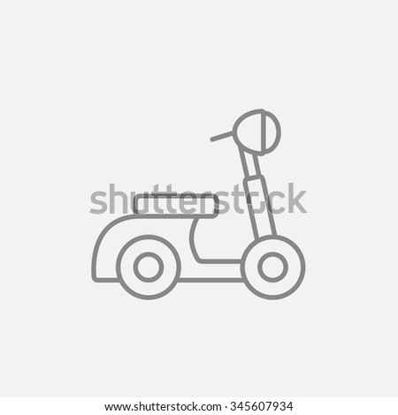 Scooter line icon for web, mobile and infographics. Vector dark grey icon isolated on light grey background. - stock vector