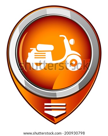 Scooter. Orange map pointer. - stock vector