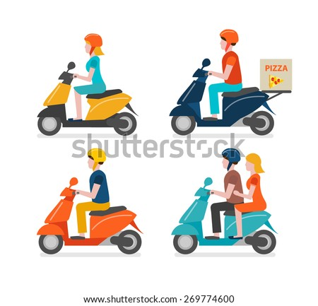 Scooter riding icons set isolated on white background. Young man and woman riding scooter, couple dating, courier delivering pizza, vector illustration in modern flat design style - stock vector