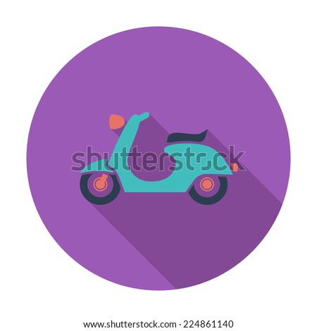 Scooter. Single flat color icon. Vector illustration. - stock vector