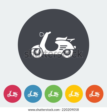Scooter. Single flat icon on the circle. Vector illustration. - stock vector