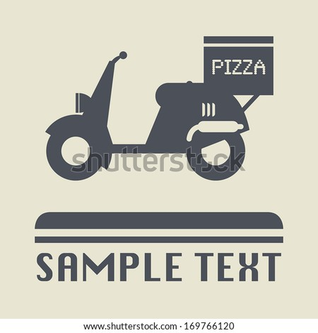 Scooter with pizza box icon or sign, vector illustration - stock vector