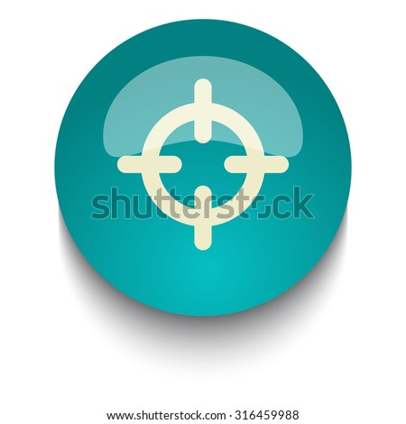 Scope vector icon on blue green glossy glass button on white background - stock vector
