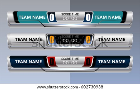 Scoreboard Broadcast Graphic for soccer and football, vector illustration