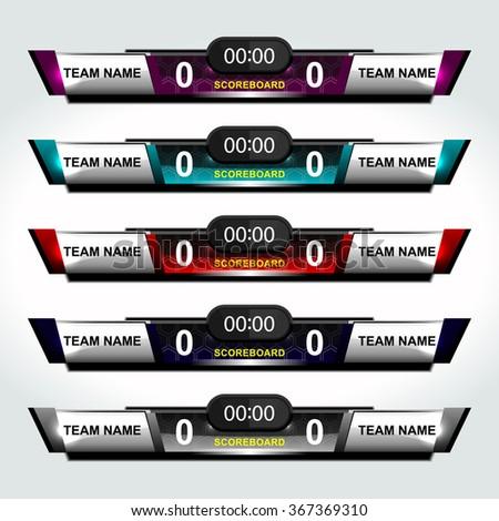 scoreboard elements design for football and soccer, vector illustration - stock vector