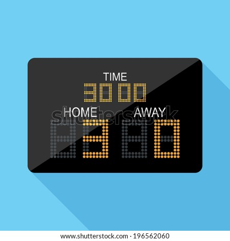 Scoreboard icon. Flat design style modern vector illustration. Isolated on stylish color background. Flat long shadow icon. Elements in flat design. - stock vector