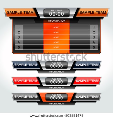 Scoreboard Sport Template Football Soccer Vector Stock Vector ...