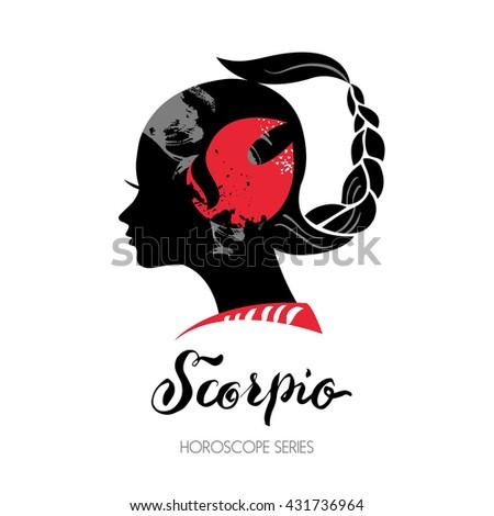 Scorpio zodiac sign. Beautiful girl silhouette. Vector illustration. Horoscope series - stock vector