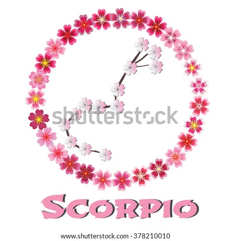 Scorpio Zodiac sign JPEG, JPG. Scorpio Zodiac sign Image. Scorpio Zodiac sign Graphic. Scorpio Zodiac sign Art. Scorpio Zodiac sign Vector, EPS. Sakura flowers on white background. - stock vector