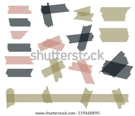 Scotch, adhesive tape pieces isolated on white vector set