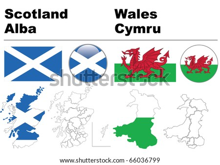 Scotland and Wales collection including flag, map (administrative division), symbol, glossy button. - stock vector
