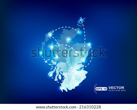 Scotland country map polygonal with spot lights places - stock vector