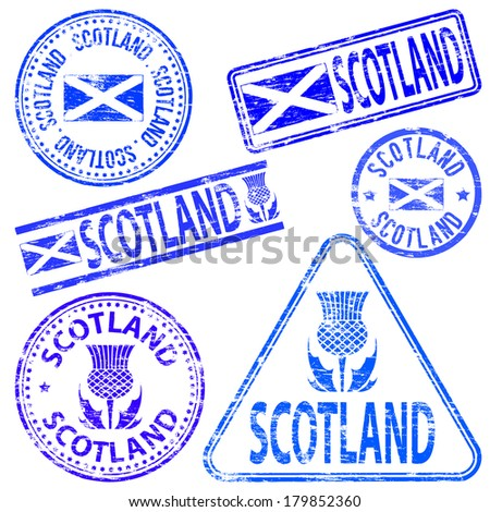 Scotland different shaped rubber stamp vector illustration  - stock vector