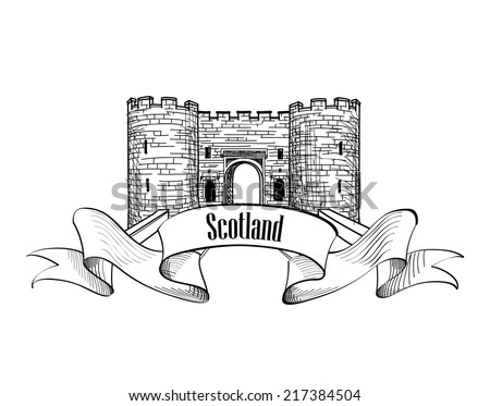 Scotland label with ribbon and copy space. Scotch famous Stirling castle sketch symbol, Stirlingshire, Scotland. - stock vector