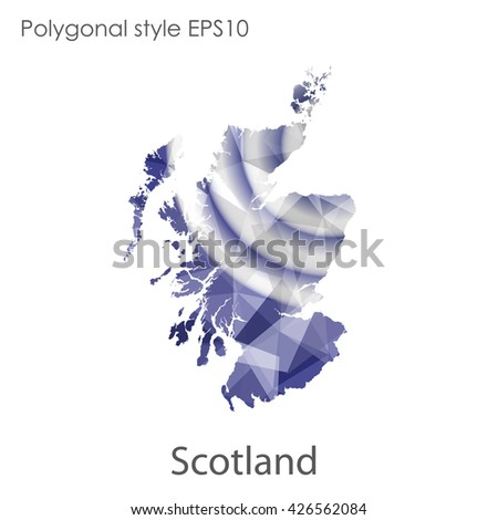 Scotland map in geometric polygonal style.Abstract gems triangle,modern design background.