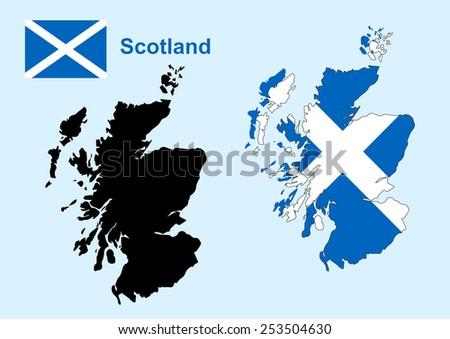 Scotland map vector, Scotland flag vector - stock vector