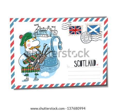 Scotland postcard - stock vector