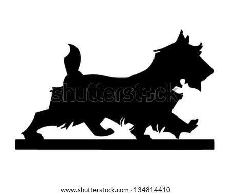 Scottie Dog Silhouette - Retro Clip Art Illustration - stock vector