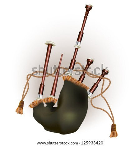 Scottish bagpipe. Isolated on white background. Vector illustration - stock vector