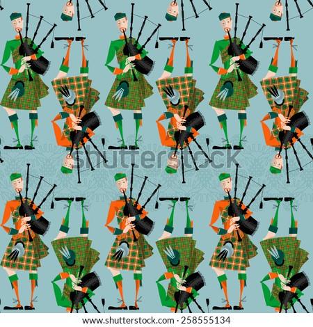 Scottish Bagpiper in uniform. Seamless background pattern. Vector illustration  - stock vector