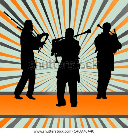 Scottish bagpiper silhouette abstract background - stock vector
