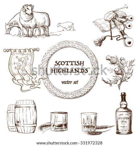 Scottish highlands set. Set of sketchy drawings representing items traditionally associated with Scottish Highlands. EPS10 Vector illustration. - stock vector