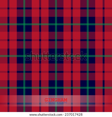 Scottish red gingham vector - stock vector