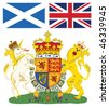 Scottish royal coat of arms with flags of Scotland and Great Britain - stock vector