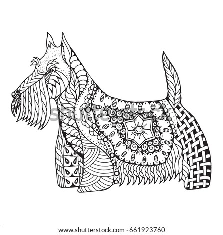 scottish terrier dog zentangle stylized vector illustration freehand pencil hand drawn