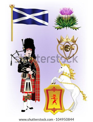 Scottish Vector Illustrations - Scottish Flag, Cotton Thistle, Luckenbooth, Scottish Piper and the Unicorn and Rampant Lion Shield - stock vector