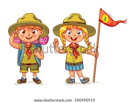 scout boy scout girl scout honor stock vector 500490919