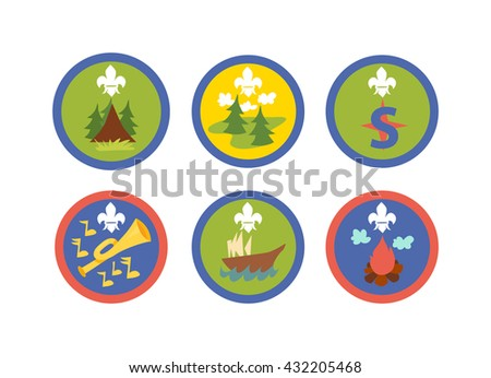 Scout symbols and scout signs design camp elements. Outdoor scout signs mountain emblem and tent recreation label park scout signs. Expedition icon scout signs stamp campfire adventure. - stock vector