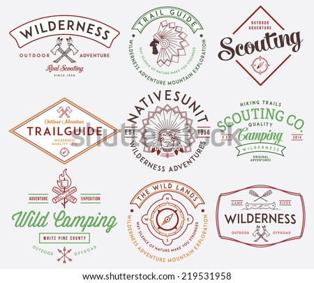 Scouting vector badges and labels for any use - stock vector
