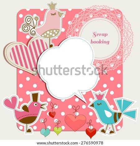 Scrap booking set, funny birds, frames hearts, speech bubbles - stock vector